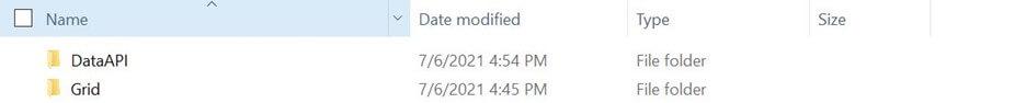 Create a folder named DataAPI