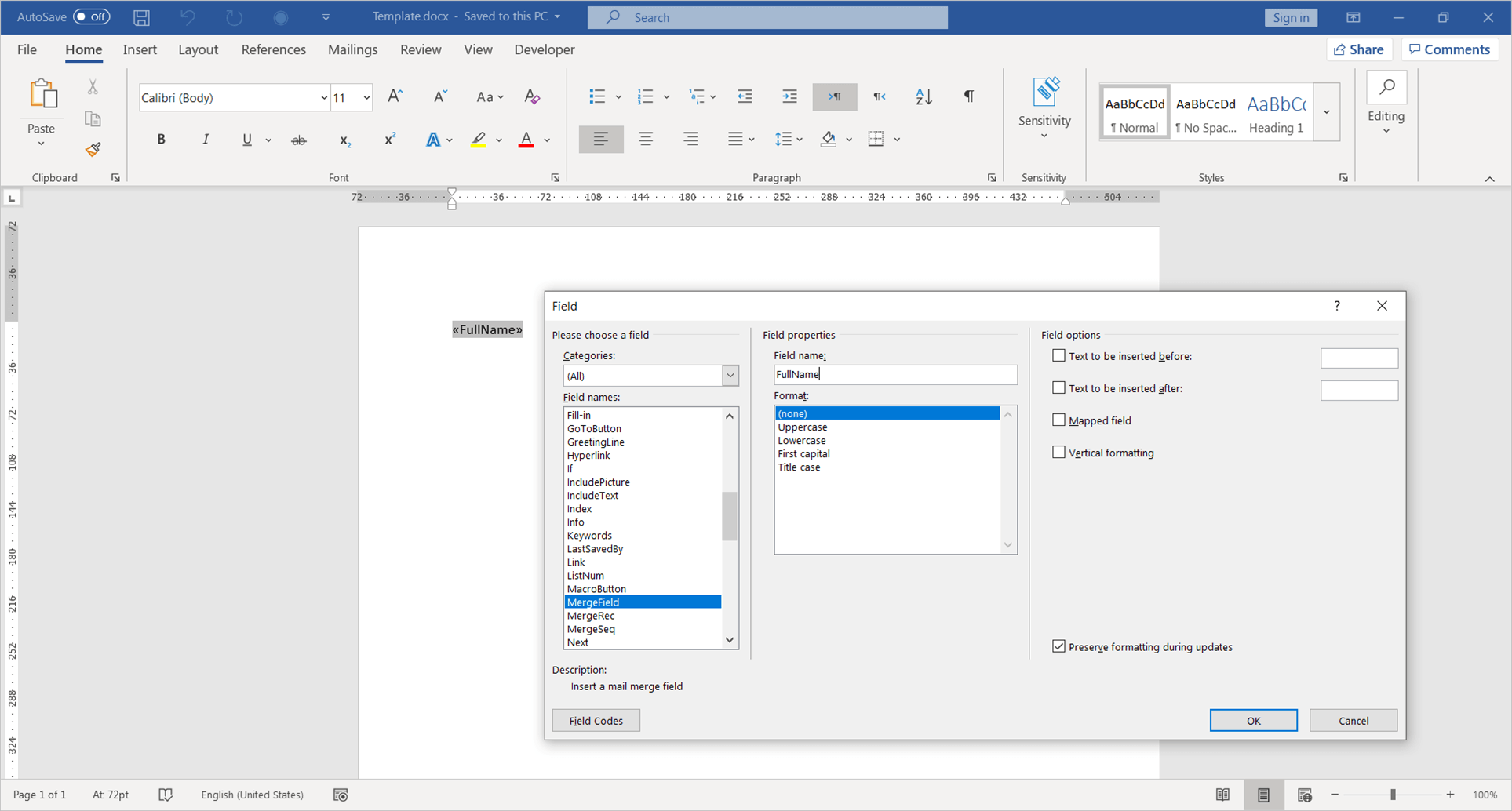 Creating a Template Word Document Using Microsoft Word Editor