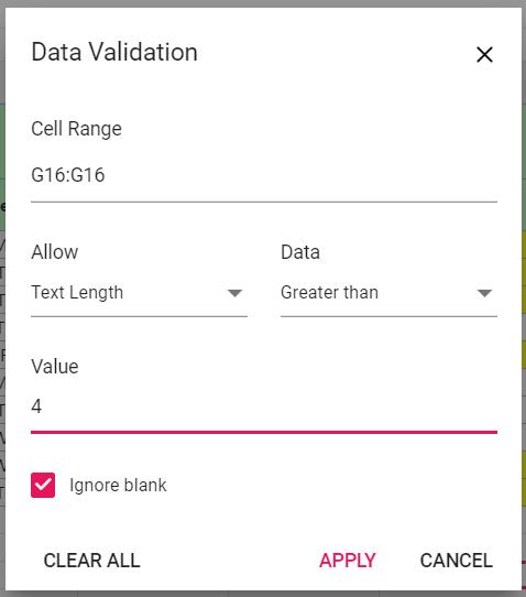 Data Validation Dialog