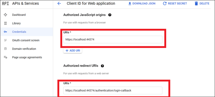 Enter your publish URL link as Authorized URI and login URL as Redirected URI