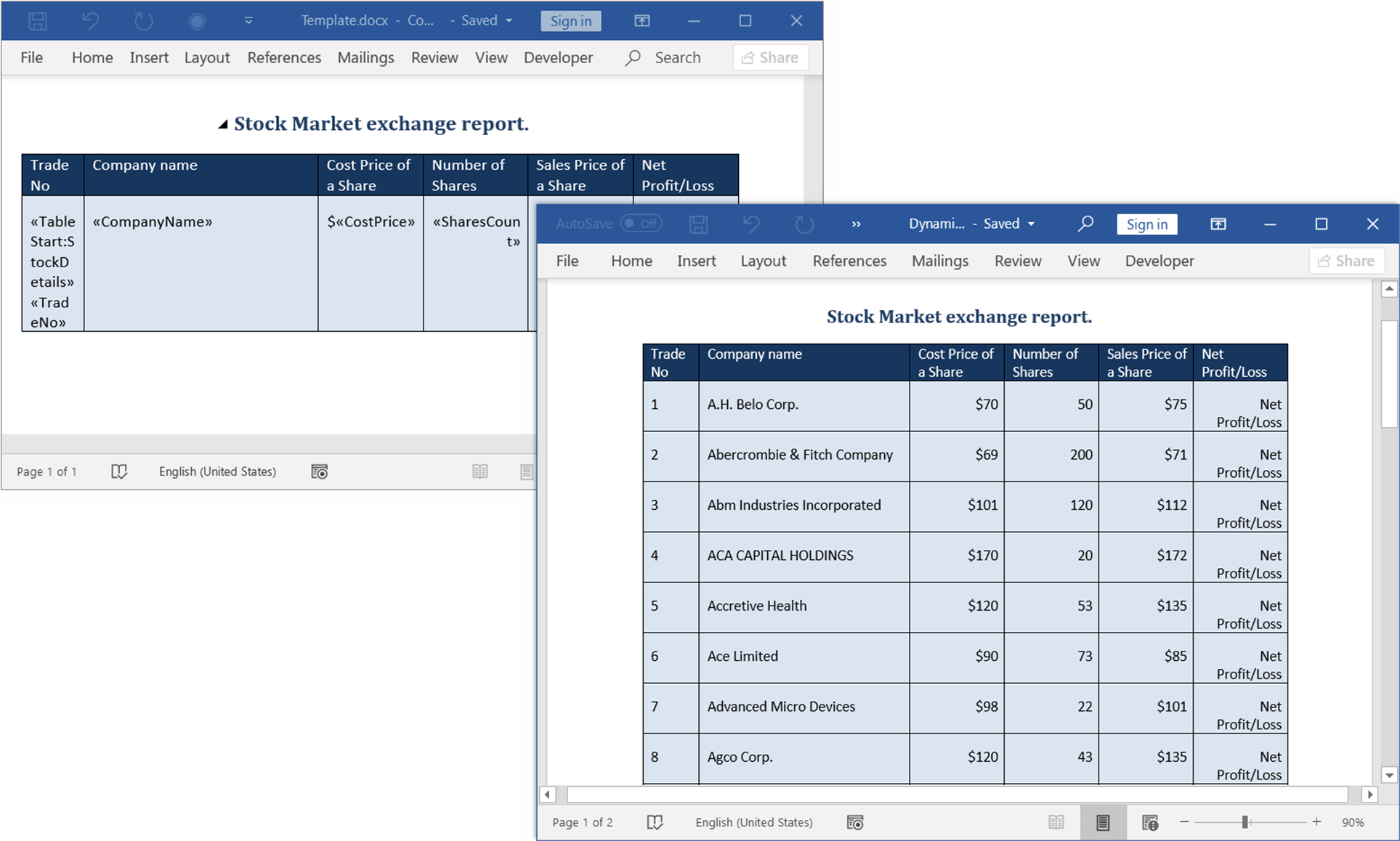Fill Data in Word Table Dynamically Using Mail Merge in Java Word Library