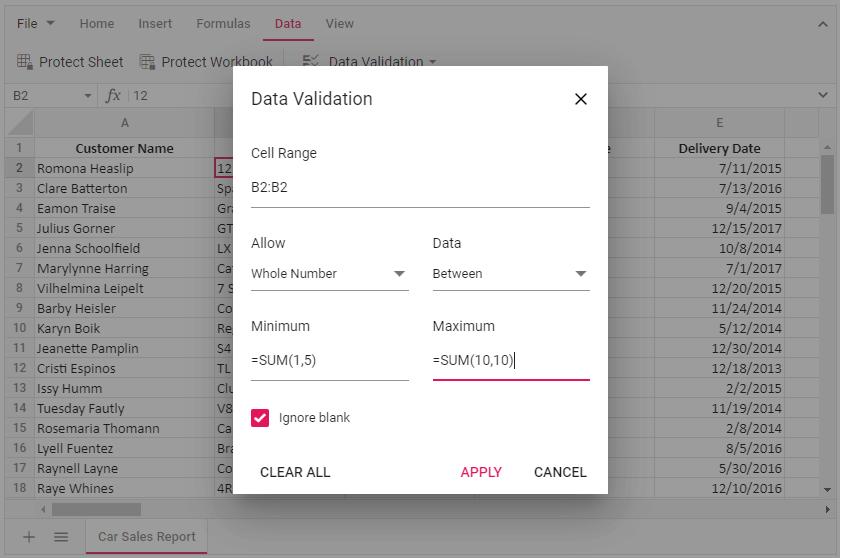Formula Values in Data Validation Input