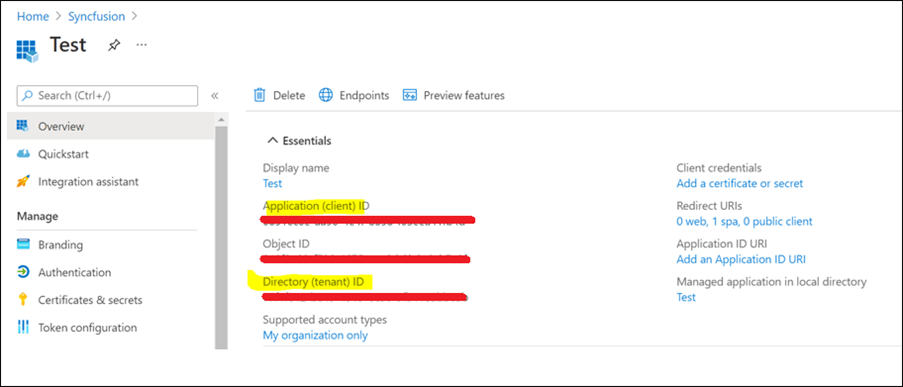 Get the Application client ID, and Directory tenant ID from the overview page.