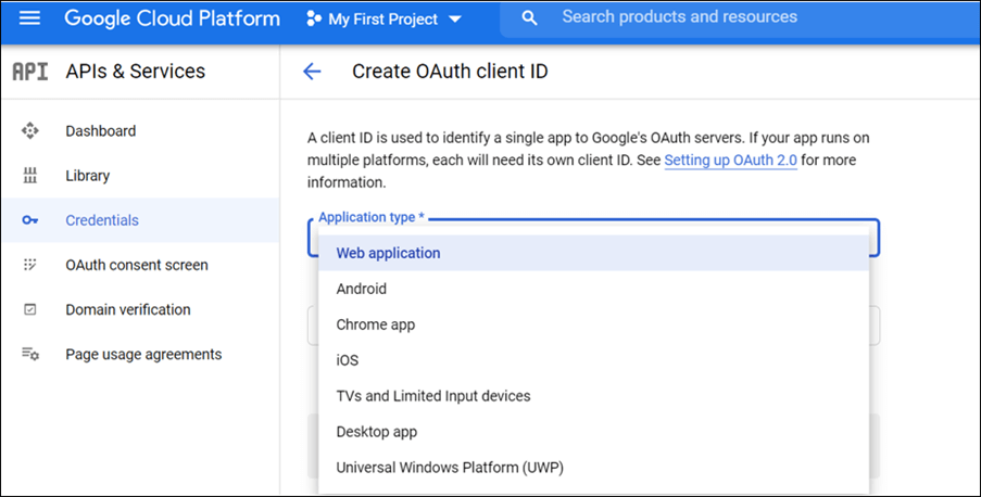 Select the Application type as Web application