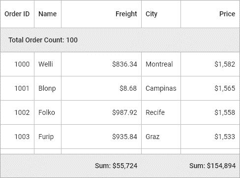 Summary Row in Flutter DataGrid