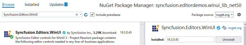 Add the Syncfusion.Editor.WinUI NuGet Package