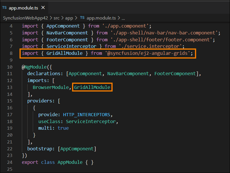 Add the required Angular component(s) module entries