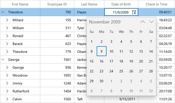 Date Selection Using CalendarDatePicker in WinUI TreeGrid