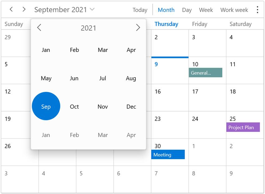 Date navigation using the date picker in WinUI Scheduler