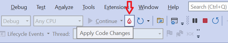 Modify the code and click the Apply Code Changes button