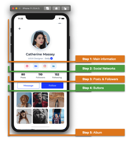 Social Profile UI in Xamarin.Forms