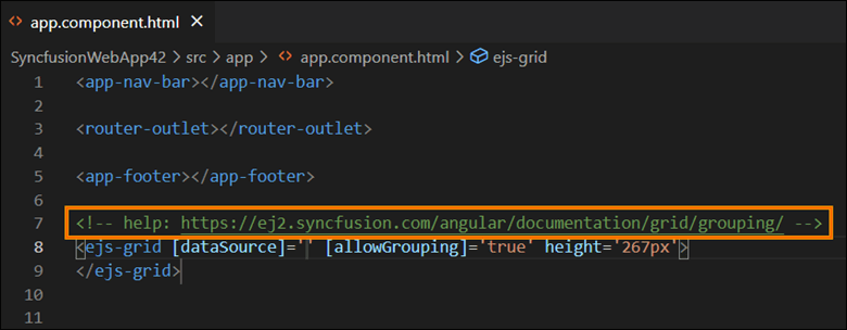 Use the help link to learn more about the Angular components