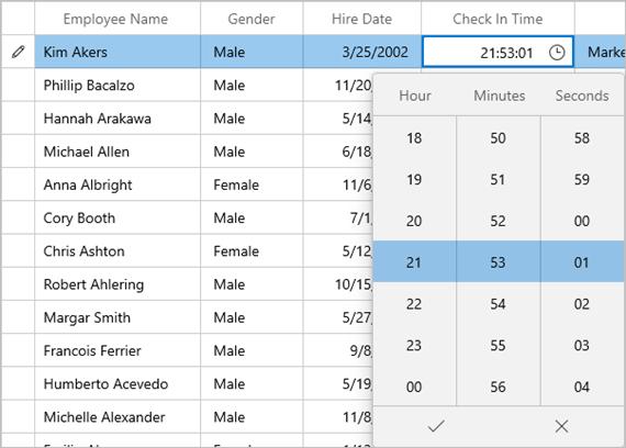 Using TimePicker in WinUI DataGrid