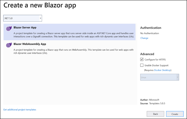 Create a Blazor Server Application