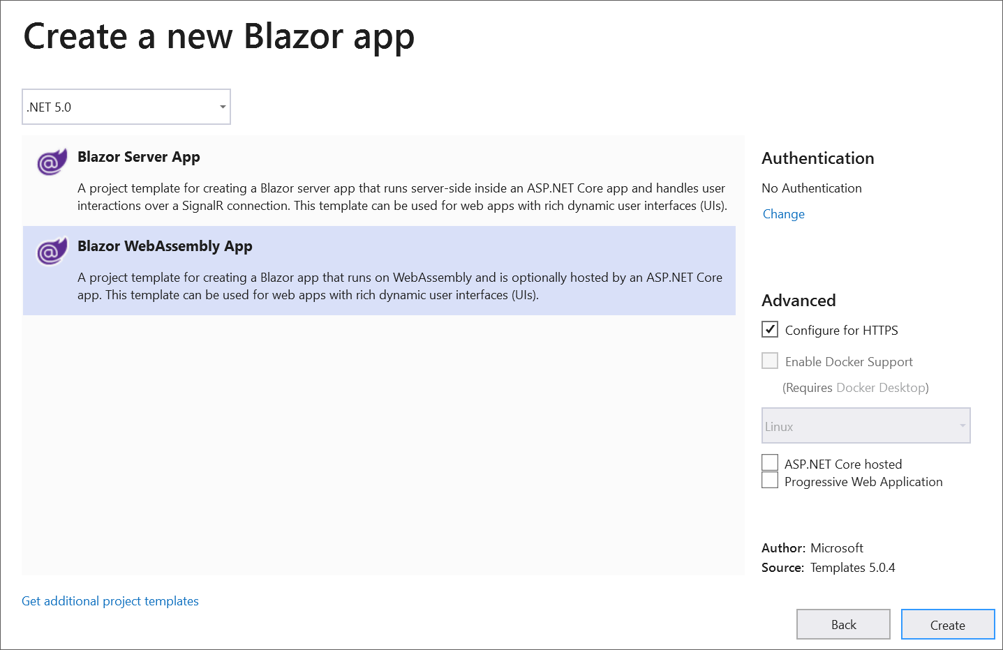 Create a Blazor WebAssemby Application