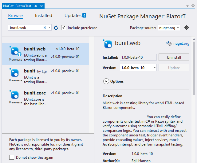 Nuget Manager Window