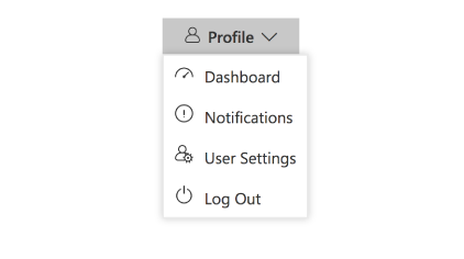 Angular Dropdown menu popup with list of action items containing text and icons