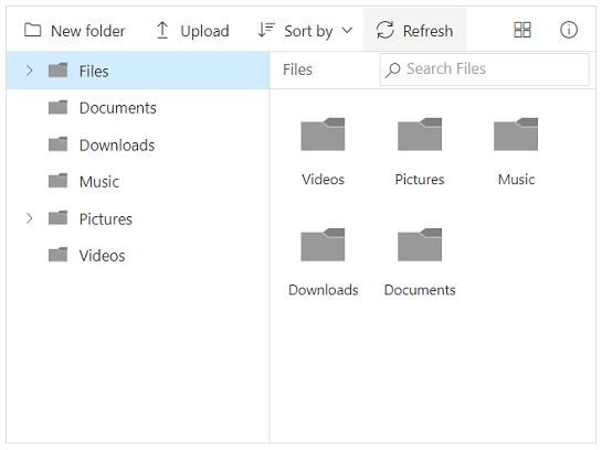 File Manager with toolbar