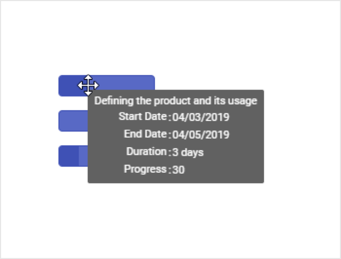 Taskbar tooltip in Angular Gantt Chart.