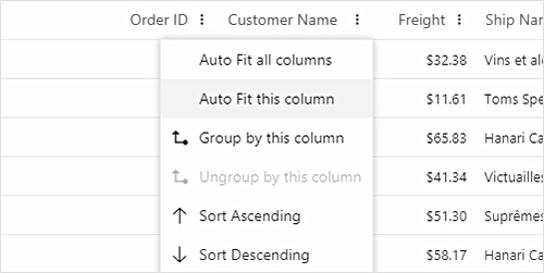 Column menu in Angular Data Grid.