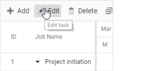 Gantt toolbar to edit tasks.