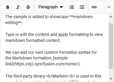 The Blazor markdown editor with expanded toolbar.