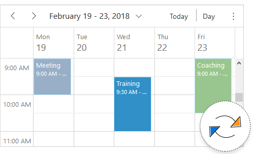 Illustration of real-time updates of ASP Net Core Blazor Scheduler component