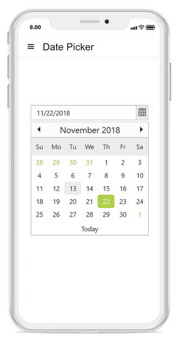 Mobile-friendly responsive DatePicker UI