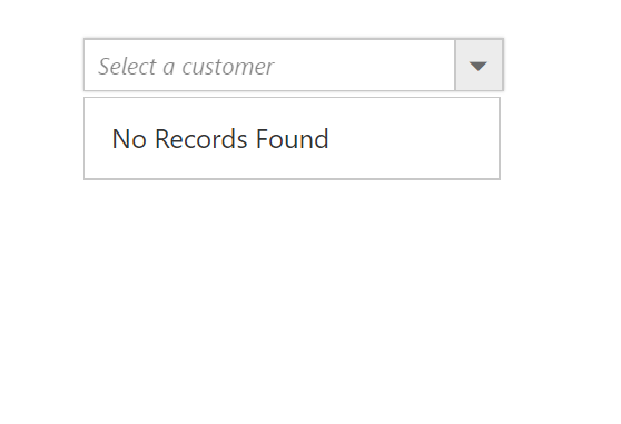 Combo box pop-up list custom appearance when no records are found