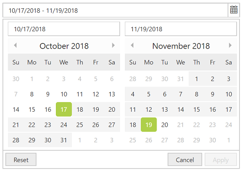 ASP NET Web Forms DateRangePicker Control | Syncfusion