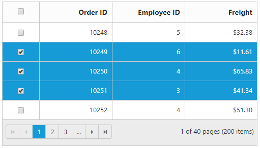 Multiple rows selected in a grid using checkbox column.