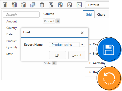 Loads report from the database in ASP.NET Web Forms Pivot and OLAP browser