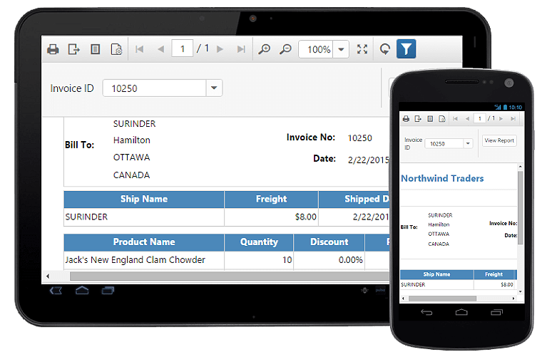 Shows the adaptive rendering of report viewer component in phone, tablet, or desktop form factors