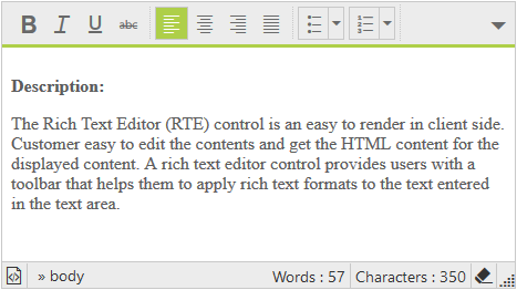 Rich Text Editor inline toolbar