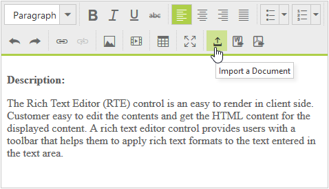 Import and export in ASP.NET rich text editor