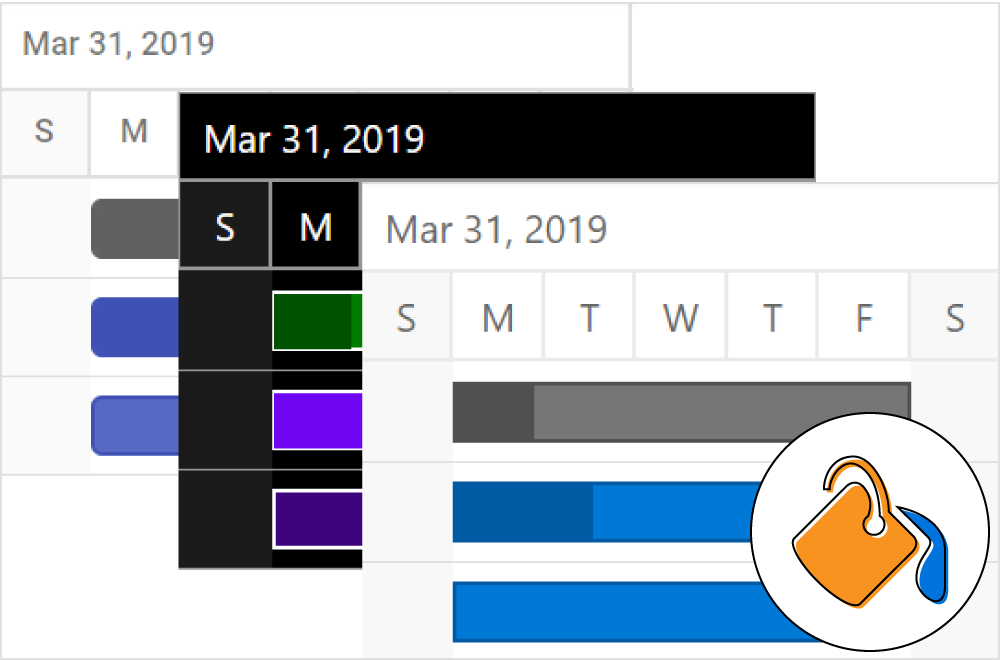 Theme illustration for ASP.NET core gantt chart