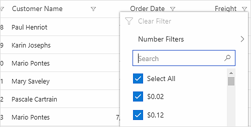 ASP.NET Core Data Grid filter rows using Excel-like filter.