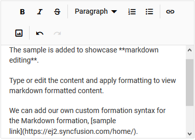 The ASP.NET Core markdown editor with multi-row toolbar.