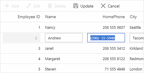 ASP.NET MVC Data Grid using custom edit UI.