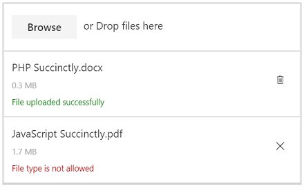 Validates file size and file type in JavaScript File Upload Control