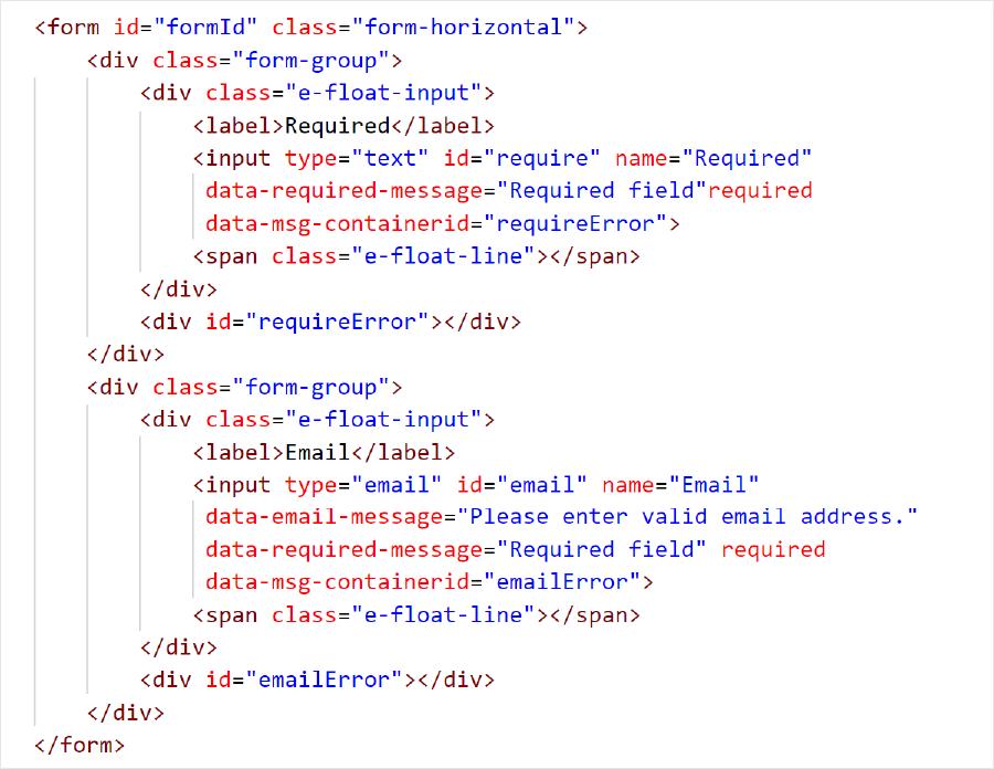 JavaScript/HTML5 Form Validation | Input Validation | Syncfusion