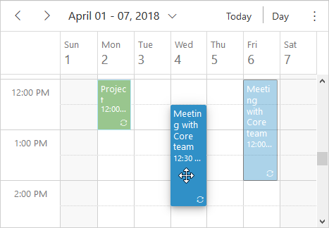 JavaScript scheduler event drag and drop