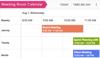 JavaScript event calendar used in real-time applications
