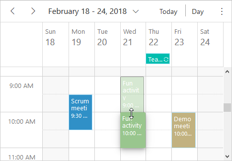 JavaScript scheduler event resizing