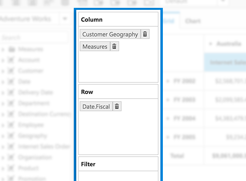 Axis element builder in JavaScript Pivot and OLAP browser