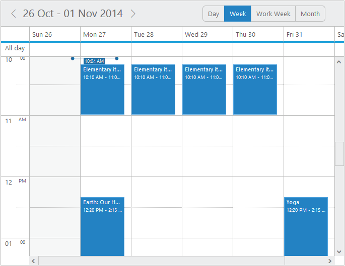 Cell Height and Width in jQuery Scheduler/Event calendar