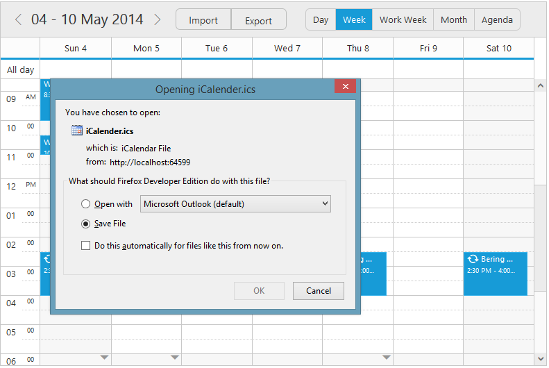 jQuery Scheduler/Event calendar provides support for Pdf exporting
