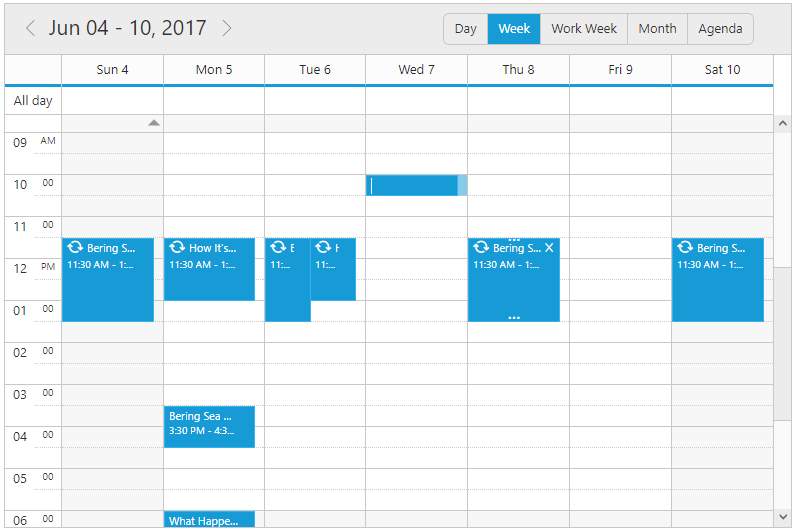 Add and Edit Appointments Inline in jQuery Scheduler/Event calendar