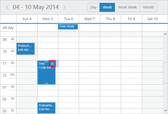 Appointment Inline Delete option in jQuery Scheduler/Event calendar