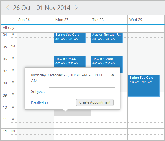 Quick Appointment Window in jQuery Scheduler/Event calendar